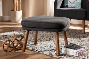 Baxton Studio Lovise Mid-Century Modern Dark Grey Fabric Upholstered Walnut Brown Finished Wood Ottoman-Ottomans-HipBeds.com