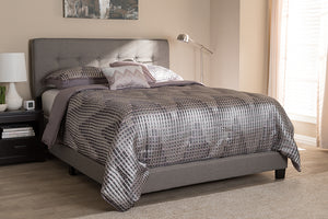 Baxton Studio Audrey Modern and Contemporary Light Grey Fabric Upholstered King Size Bed-Beds-HipBeds.com