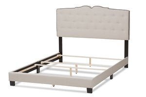 Baxton Studio Vivienne Modern and Contemporary Light Beige Fabric Upholstered Queen Size Bed Image 7