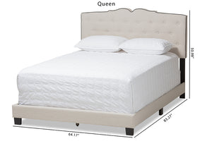 Baxton Studio Vivienne Modern and Contemporary Light Beige Fabric Upholstered Queen Size Bed Image 13