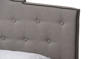 Baxton Studio Vivienne Modern and Contemporary Light Grey Fabric Upholstered King Size Bed Image 8