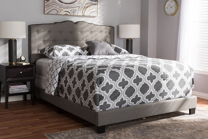 Baxton Studio Vivienne Modern and Contemporary Light Grey Fabric Upholstered King Size Bed