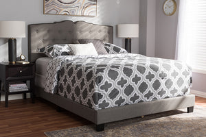 Baxton Studio Vivienne Modern and Contemporary Light Grey Fabric Upholstered King Size Bed Image 4
