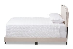 Baxton Studio Odette Modern and Contemporary Light Beige Fabric Upholstered Queen Size Bed Image 6