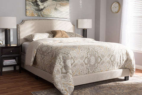 Baxton Studio Odette Modern and Contemporary Light Beige Fabric Upholstered Queen Size Bed Image 3