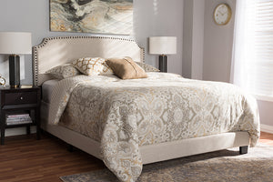 Baxton Studio Odette Modern and Contemporary Light Beige Fabric Upholstered Queen Size Bed Image 4