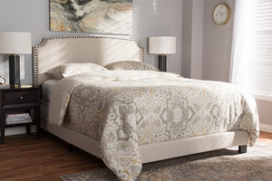 Baxton Studio Odette Modern and Contemporary Light Beige Fabric Upholstered Queen Size Bed Image 10