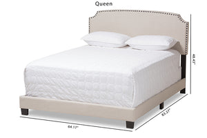 Baxton Studio Odette Modern and Contemporary Light Beige Fabric Upholstered Queen Size Bed Image 13