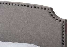 Baxton Studio Odette Modern and Contemporary Light Grey Fabric Upholstered King Size Bed Image 8