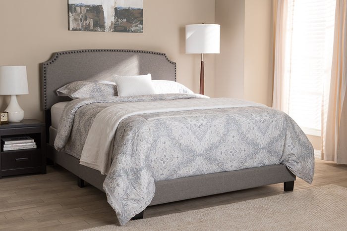 Baxton Studio Odette Modern and Contemporary Light Grey Fabric Upholstered King Size Bed