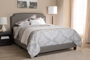 Baxton Studio Odette Modern and Contemporary Light Grey Fabric Upholstered King Size Bed Image 4