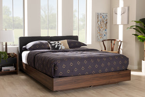 Baxton Studio Iselin Mid-Century Modern Brown Finished Dark Grey Fabric Upholstered Queen Sized Storage Platform Bed-Storage Beds-HipBeds.com