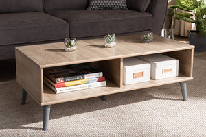 Baxton Studio Pierre Mid-Century Modern Oak and Light Grey Finished Wood Coffee Table-Coffee Tables-HipBeds.com