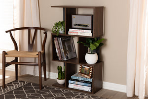 Baxton Studio Legende Modern and Contemporary Brown and Dark Grey Finished Display Bookcase-Bookcases-HipBeds.com
