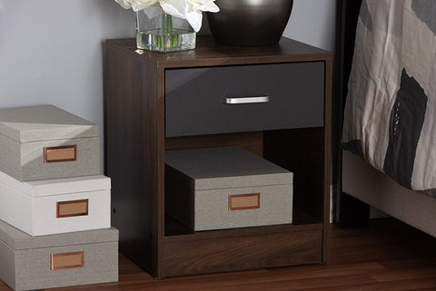 Baxton Studio Hansel Modern and Contemporary 1-Drawer Dark Brown and Dark Grey Finished Nightstand Image 3