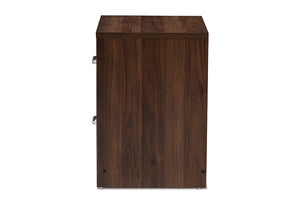Baxton Studio Hansel Modern and Contemporary 2-Drawer Dark Brown and Dark Grey Finished Nightstand-Nightstands-HipBeds.com