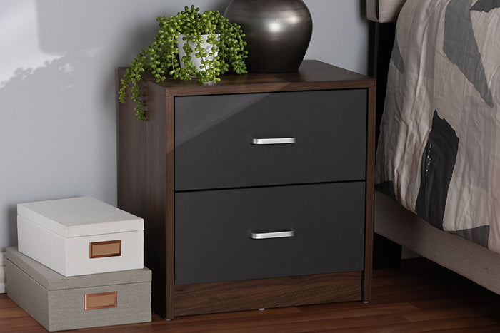 Baxton Studio Hansel Modern and Contemporary 2-Drawer Dark Brown and Dark Grey Finished Nightstand