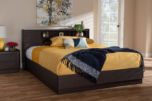 Baxton Studio Larsine Modern and Contemporary Brown Finished Queen Size Platform Storage Bed Image 3