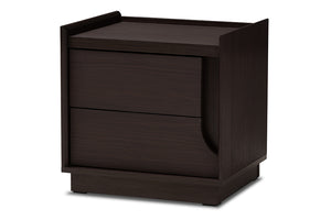 Baxton Studio Larsine Modern and Contemporary Brown Finished 2-Drawer Nightstand Image 5
