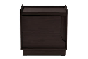 Baxton Studio Larsine Modern and Contemporary Brown Finished 2-Drawer Nightstand Image 7