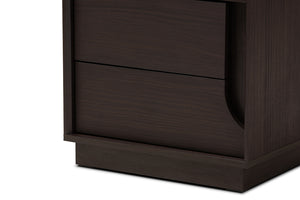 Baxton Studio Larsine Modern and Contemporary Brown Finished 2-Drawer Nightstand Image 9