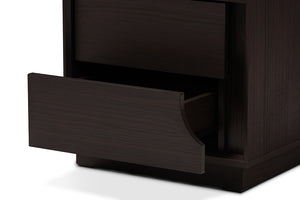 Baxton Studio Larsine Modern and Contemporary Brown Finished 2-Drawer Nightstand Image 10