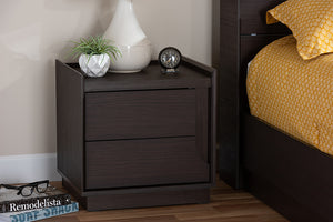 Baxton Studio Larsine Modern and Contemporary Brown Finished 2-Drawer Nightstand Image 3