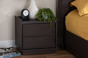Baxton Studio Larsine Modern and Contemporary Brown Finished 2-Drawer Nightstand Image 4