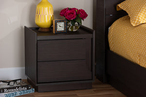 Baxton Studio Larsine Modern and Contemporary Brown Finished 2-Drawer Nightstand Image 11