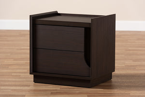 Baxton Studio Larsine Modern and Contemporary Brown Finished 2-Drawer Nightstand Image 12