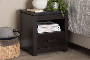 Baxton Studio Bienna Modern and Contemporary Wenge Brown Finished 1-Drawer Nightstand-Nightstands-HipBeds.com