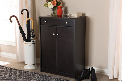 Baxton Studio Dariell Modern and Contemporary Wenge Brown Finished Shoe Cabinet Image 3