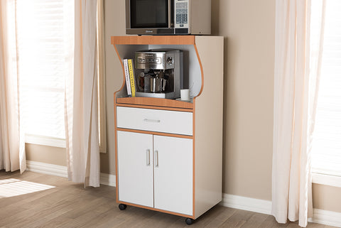 Baxton Studio Edonia Modern and Contemporary Beech Brown and White Finish Kitchen Cabinet-Kitchen Storage-HipBeds.com