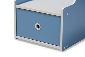 Baxton Studio Aeluin Contemporary Children's Blue and White Finished Nightstand Image 10