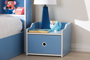 Baxton Studio Aeluin Contemporary Children's Blue and White Finished Nightstand Image 3