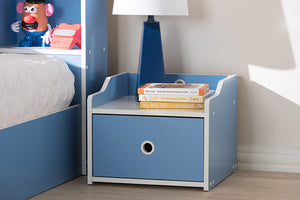 Baxton Studio Aeluin Contemporary Children's Blue and White Finished Nightstand Image 4
