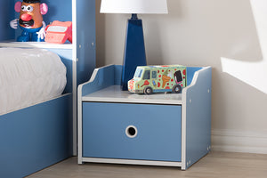 Baxton Studio Aeluin Contemporary Children's Blue and White Finished Nightstand Image 11