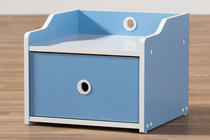 Baxton Studio Aeluin Contemporary Children's Blue and White Finished Nightstand Image 12