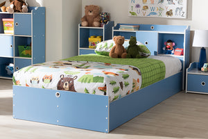 Baxton Studio Aeluin Contemporary Children's Blue and White Finished Platform Bed Image 3
