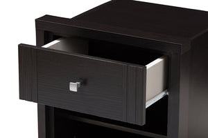 Baxton Studio Danette Modern and Contemporary Wenge Brown Finished 1-Drawer Nightstand Image 10