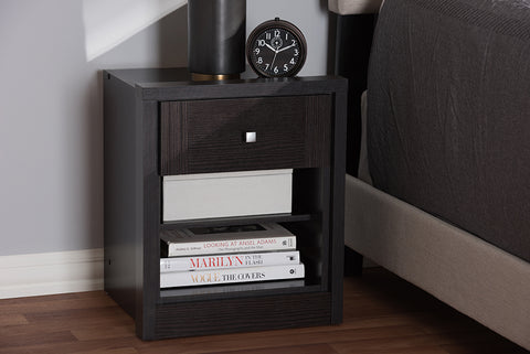 Baxton Studio Danette Modern and Contemporary Wenge Brown Finished 1-Drawer Nightstand Image 3