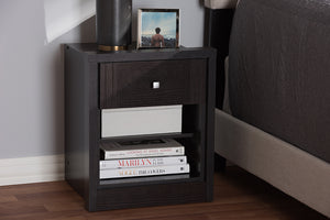 Baxton Studio Danette Modern and Contemporary Wenge Brown Finished 1-Drawer Nightstand Image 4