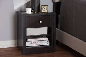 Baxton Studio Danette Modern and Contemporary Wenge Brown Finished 1-Drawer Nightstand Image 11