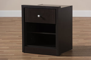 Baxton Studio Danette Modern and Contemporary Wenge Brown Finished 1-Drawer Nightstand Image 12