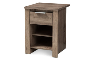 Baxton Studio Laverne Modern and Contemporary Oak Brown Finished 1-Drawer Nightstand Image 5