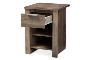Baxton Studio Laverne Modern and Contemporary Oak Brown Finished 1-Drawer Nightstand Image 6