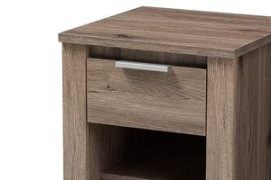 Baxton Studio Laverne Modern and Contemporary Oak Brown Finished 1-Drawer Nightstand Image 9