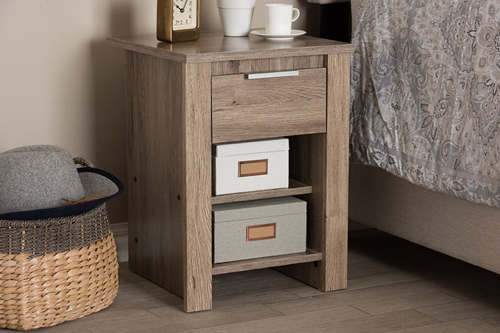 Baxton Studio Laverne Modern and Contemporary Oak Brown Finished 1-Drawer Nightstand