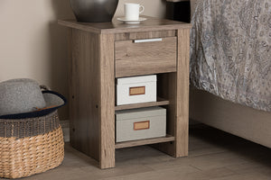 Baxton Studio Laverne Modern and Contemporary Oak Brown Finished 1-Drawer Nightstand Image 11