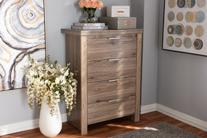 Baxton Studio Laverne Modern and Contemporary Oak Brown Finished 4-Drawer Chest Image 3